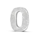 Rappresentazione del numero di pietra 0 isolata su fondo bianco Fotografia Stock Libera da Diritti