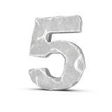 Rappresentazione del numero di pietra 5 isolata su fondo bianco Immagini Stock Libere da Diritti