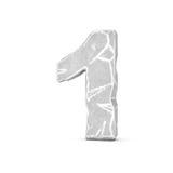 Rappresentazione del numero di pietra 1 isolata su fondo bianco Immagini Stock Libere da Diritti