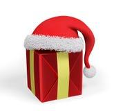 Rappresentazione del regalo di Natale e del cappello 3d di Santa Immagini Stock