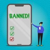Rappresentazione del segno del testo vietata Steroidi concettuali di divieto della foto, nessuna giustificazione per i muscoli di illustrazione di stock