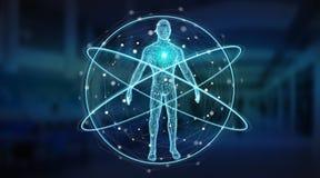 Rappresentazione dell'interfaccia 3D del fondo di ricerca del corpo umano dei raggi x di Digital illustrazione di stock