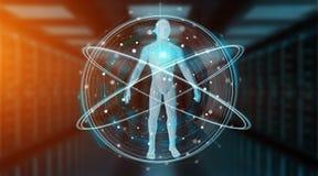 Rappresentazione dell'interfaccia 3D del fondo di ricerca del corpo umano dei raggi x di Digital Fotografia Stock Libera da Diritti