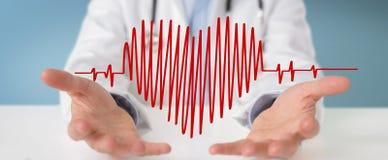 Rappresentazione dell'interfaccia digitale 3D di battito cardiaco della tenuta di medico Fotografia Stock Libera da Diritti