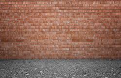 Rappresentazione dell'interno con il muro di mattoni e la terra rossi Immagini Stock Libere da Diritti