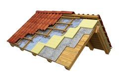 Rappresentazione dell'isolamento termico 3D del tetto Immagine Stock