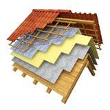 Rappresentazione dell'isolamento termico 3D del tetto Fotografia Stock