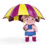 Rappresentazione dell'ombrello 3d della tenuta del maiale del personaggio dei cartoni animati Immagine Stock