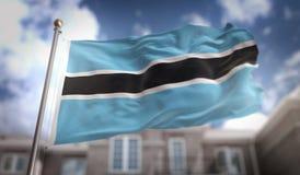 Rappresentazione della bandiera 3D del Botswana sul fondo della costruzione del cielo blu Fotografia Stock Libera da Diritti