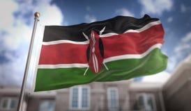 Rappresentazione della bandiera 3D del Kenya sul fondo della costruzione del cielo blu Fotografia Stock