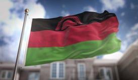 Rappresentazione della bandiera 3D del Malawi sul fondo della costruzione del cielo blu Immagine Stock