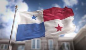 Rappresentazione della bandiera 3D del Panama sul fondo della costruzione del cielo blu Fotografie Stock
