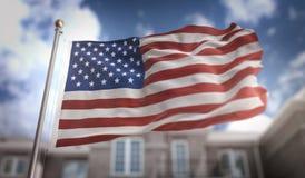 Rappresentazione della bandiera 3D dell'America U.S.A. sul fondo della costruzione del cielo blu Immagini Stock Libere da Diritti