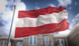 Rappresentazione della bandiera 3D dell'Austria sul fondo della costruzione del cielo blu Fotografia Stock
