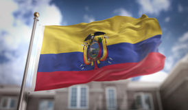 Rappresentazione della bandiera 3D dell'Ecuador sul fondo della costruzione del cielo blu Fotografia Stock Libera da Diritti