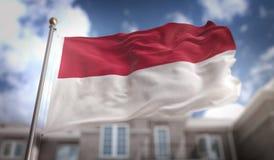 Rappresentazione della bandiera 3D dell'Indonesia sul fondo della costruzione del cielo blu Fotografie Stock
