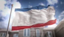 Rappresentazione della bandiera 3D della Crimea sul fondo della costruzione del cielo blu Fotografia Stock Libera da Diritti