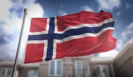 Rappresentazione della bandiera 3D della Norvegia sul fondo della costruzione del cielo blu Fotografie Stock
