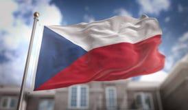 Rappresentazione della bandiera 3D della repubblica Ceca sul cielo blu che costruisce Backgroun Fotografia Stock