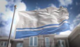 Rappresentazione della bandiera 3D della Repubblica di Altai sul cielo blu che costruisce Backgroun Immagini Stock Libere da Diritti