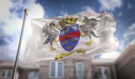 Rappresentazione della bandiera 3D di Barthélemy del san sul cielo blu che costruisce Backgro Fotografia Stock