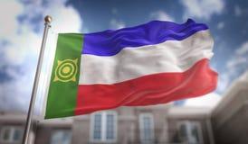 Rappresentazione della bandiera 3D di Khakassia sul fondo della costruzione del cielo blu Immagini Stock