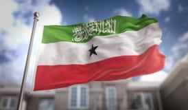 Rappresentazione della bandiera 3D di Somalia sul fondo della costruzione del cielo blu Fotografia Stock Libera da Diritti