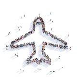 Rappresentazione della gente 3D degli aerei Immagine Stock