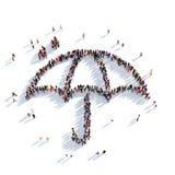 Rappresentazione della gente 3D della pioggia dell'ombrello Fotografia Stock Libera da Diritti
