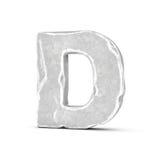 Rappresentazione della lettera di pietra D isolata su fondo bianco Immagini Stock