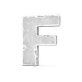Rappresentazione della lettera di pietra F isolata su fondo bianco Fotografia Stock Libera da Diritti