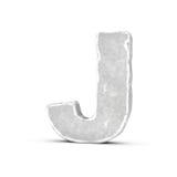 Rappresentazione della lettera di pietra J isolata su fondo bianco Immagine Stock