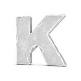 Rappresentazione della lettera di pietra K isolata su fondo bianco Fotografie Stock