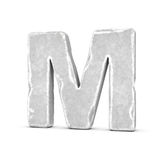 Rappresentazione della lettera di pietra m. isolata su fondo bianco Fotografia Stock Libera da Diritti