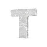 Rappresentazione della lettera di pietra T isolata su fondo bianco Fotografia Stock Libera da Diritti