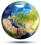 Rappresentazione della mappa 3d del globo del pianeta Immagini Stock