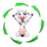 Rappresentazione della mucca 3d del personaggio dei cartoni animati illustrazione vettoriale