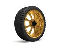 Rappresentazione della ruota 3d dell'oro dell'automobile Immagine Stock