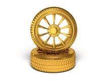 Rappresentazione della ruota 3d dell'oro dell'automobile Fotografie Stock