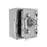 Rappresentazione della scatola sicura aperta con la sua porta rotta isolata su fondo bianco immagini stock libere da diritti