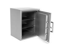 Rappresentazione della scatola sicura aperta con la sua porta rotta isolata su fondo bianco immagini stock