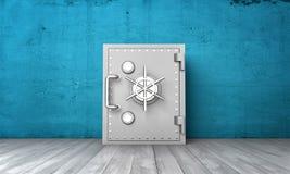 Rappresentazione della scatola sicura chiusa su fondo della parete blu e del pavimento di legno grigio royalty illustrazione gratis