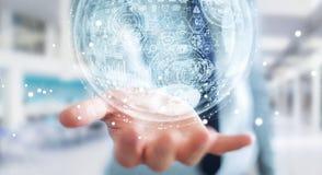 Rappresentazione della sfera 3D dell'ologramma della tenuta dell'uomo d'affari Fotografia Stock Libera da Diritti