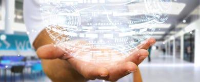 Rappresentazione della sfera 3D dell'ologramma della tenuta dell'uomo d'affari Immagini Stock