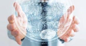Rappresentazione della sfera 3D dell'ologramma della tenuta dell'uomo d'affari Fotografie Stock Libere da Diritti