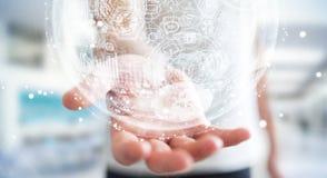 Rappresentazione della sfera 3D dell'ologramma della tenuta dell'uomo d'affari Fotografia Stock