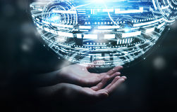 Rappresentazione della sfera 3D dell'ologramma della tenuta dell'uomo d'affari Immagini Stock Libere da Diritti