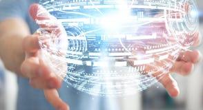 Rappresentazione della sfera 3D dell'ologramma della tenuta dell'uomo d'affari Immagine Stock Libera da Diritti