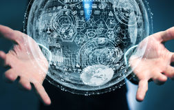 Rappresentazione della sfera 3D dell'ologramma della tenuta dell'uomo d'affari Immagine Stock