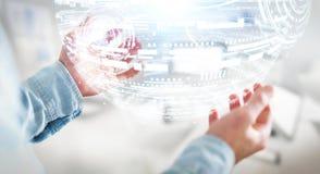 Rappresentazione della sfera 3D dell'ologramma della tenuta dell'uomo d'affari Fotografie Stock